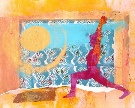 asian warrior: Yoga Sun Salute. Warrior One pose. Mixed Medium Collage.