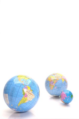almost: Almost everywhere in the world. Globes Stock Photo