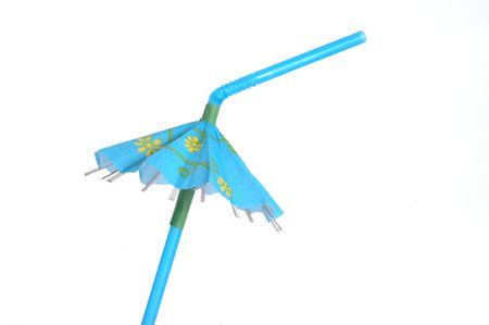 bendable: Blue tropical drink umbrella isolated on a white background.