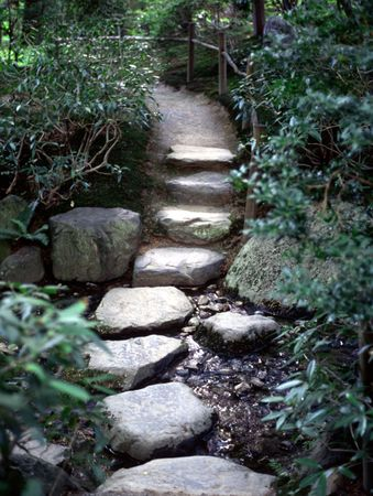 pathway: Zen path through a stream. Stock Photo