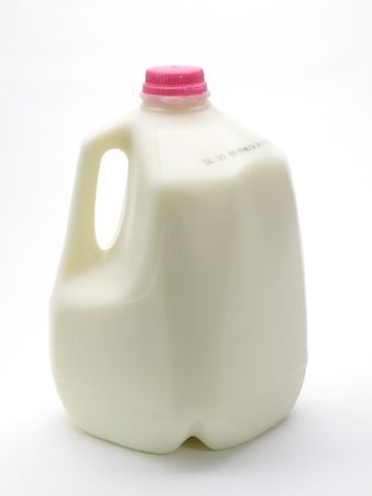 gallon: Plastic containter of a gallon of milk, isolated on white.
