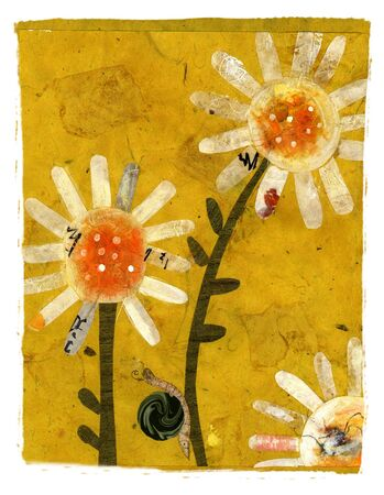 textural: Snail on flowers. Collage art. Stock Photo