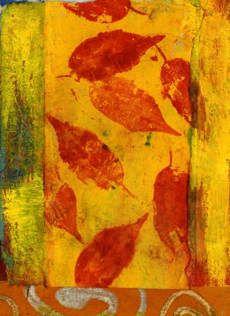 textural: Red Leaves. Mixed medium painting. Stock Photo