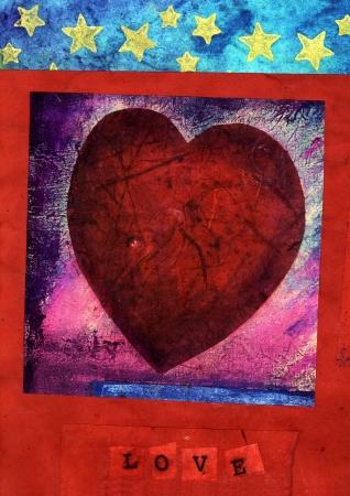 american media: Red heart and stars mixed medium art. Stock Photo