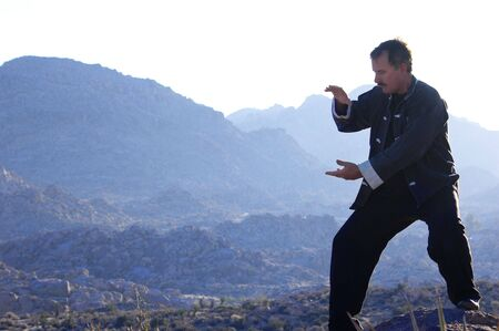 tai chi: Semi Silhouette of a Mid aged Man Doing Tai Chi during the desert dawn.