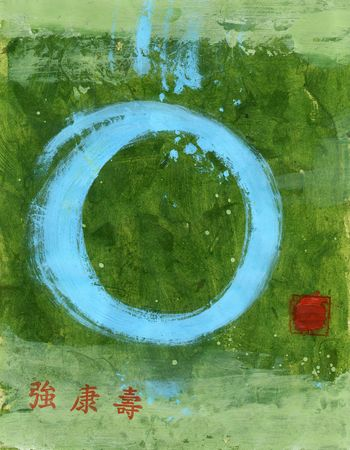 Strong Tao. Blue Tao symbol and Chinese characters meaning strong,health, and longevity. photo