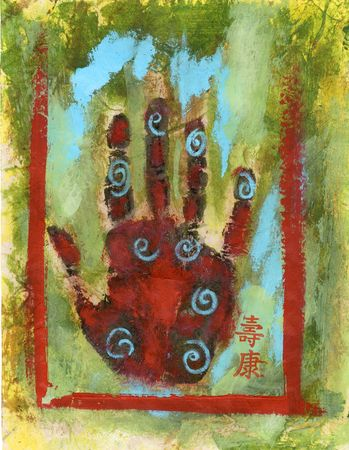 chinese medicine: Abstract Chakra Hand painting with the Chinese characters Health and Longevity.