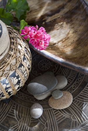 natures: Natures origins. Water, stone, and botanical element. Extreme shallow depth of focus. Stock Photo