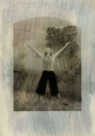 Joy. Mature woman in hands upraising (yoga) pose. Photographed in nature. Photo based mixed medium image-extreme texture and grain.