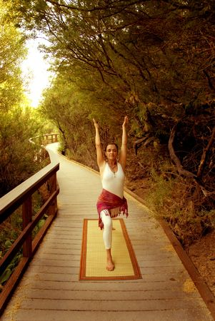 Yoga Journey. Woman in the yoga Warrior 1 posture on a nature pathway. photo