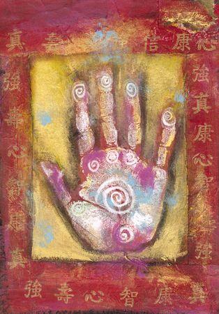 中国のエネルギーの手、抽象的な中国語の文字と絵します。 写真素材