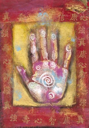 energy healing: Chinese energy hand, abstract painting with Chinese characters.