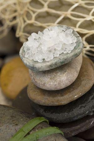 Organic sea salt and stones.