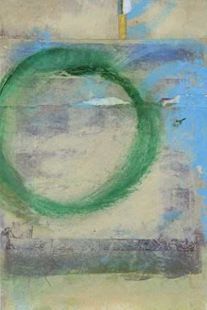 tao: Abstract painting of a green circle moving off the composition.