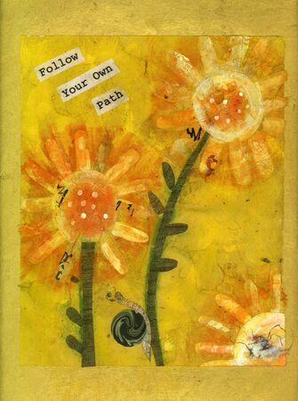 textural: Snail climbing a flower. Mixed medium collage.