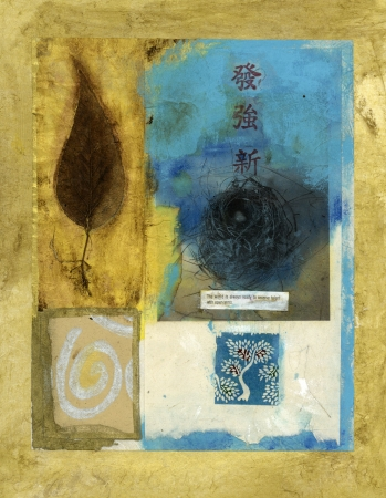 Asian mixed medium collage. Bird's nest, leaf, spiral, and tree. Stock Photo