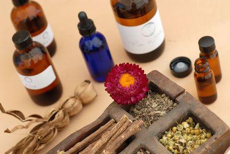 De holistische ingrediënten van Ayurveda en Herbalism.