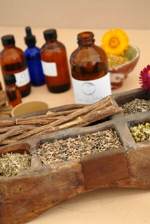 The holistic ingredients of Ayurveda and Herbalism including licorice root, milk thistle seeds, valerian root, chamomile, and tincture bottles.  Stock Photo