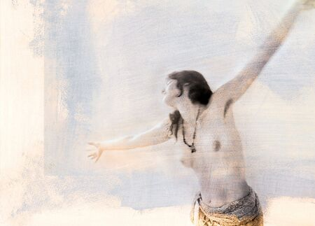 with arms open. Mixed medium photograph with textural qualities.