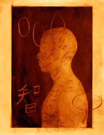 acupuntura china: Acupuntura modelo mixto de mediano imagen. Foto de archivo