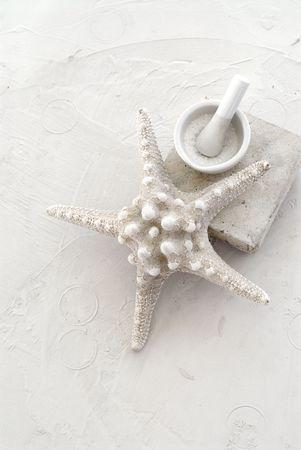 morter: Pestello e Morter contenente sale marino photogaphed testuale su un fondo bianco con una grande stella bianca.