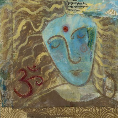om: Mixed Medium painted portrait of a blue woman in meditative expression with the sacred symbol Om.