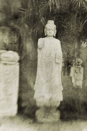 equanimity: Mixed medium illustration of a Buddha sculpture in a garden setting.