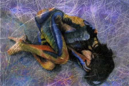 vulnerable: Abstract Woman. Mixed medium photo illustration of a painted woman in fetal position.