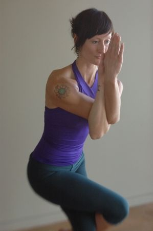 Woman in yoga pose. oft focus LENSBABY  photo. HIGH Grain natural light. Stock Photo - 4060629