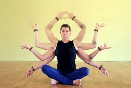 Man with eight limbs as manifestation of Shiva. The eight limbs of yoga are: Yama, Niyama, Asana, Pranayama, Pratyahara, Dharana, Dhyana, and Samadhi.  photo