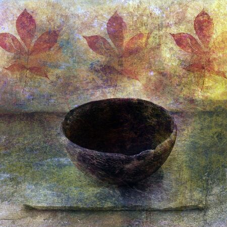 Empty ancient bowl in a still life setting.  Stock Photo - 4074947