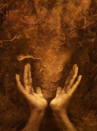 concept magical universe: Foto una mezcla a base de im�genes de manos de mediano marr�n con textura espacio.
