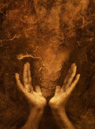 concept magical universe: Photo based mixed medium images of hands with brown textural space.