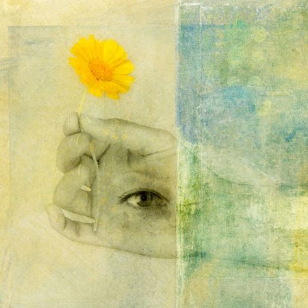 third eye: Generosity. Hand with third eye holding a yellow flower.