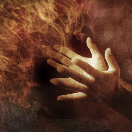healer: Hands lit up with energy light. Photo based illustration.  Stock Photo