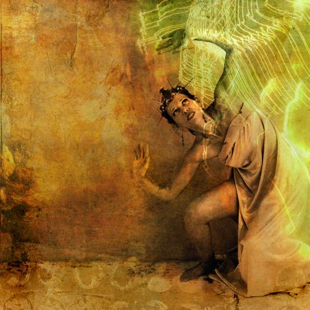 consciousness: Goddess woman being over come by the light.