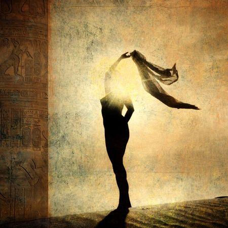 Silhouette of an illuminated woman. Photo based illustration.
