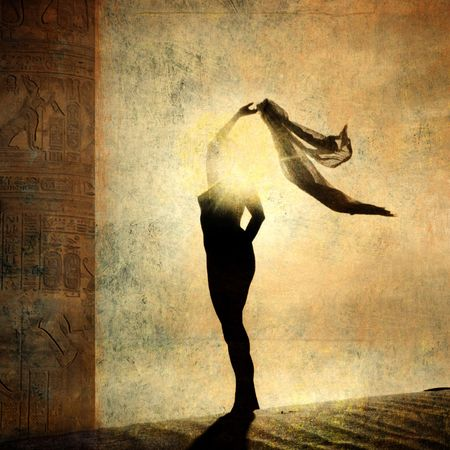 Silueta de una mujer iluminada. Foto basada en la ilustración. Foto de archivo - 5161198