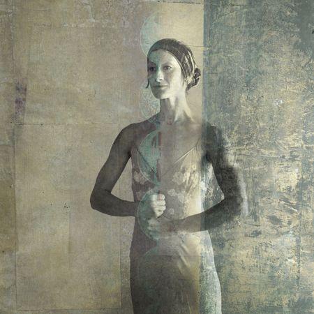 Donna con core forza mudra. Foto basa illustrazione. Archivio Fotografico