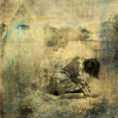 Seeker. Woman collasped in the desert with mystiical pyramid. Photo based illustration.