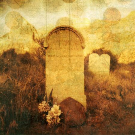 bereavement: Old western tombstone with textures and rising souls. Photo based illustration.