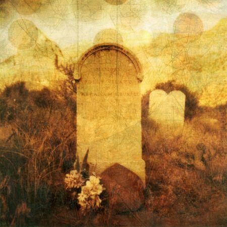 """Oud West grafsteen met texturen en stijgende """"ziel"""". Foto gebaseerd illustratie."""
