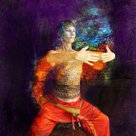 aura: Woman in Asian Yoga Qigong influenced pose in a rust cylinder. Photo based illustration.
