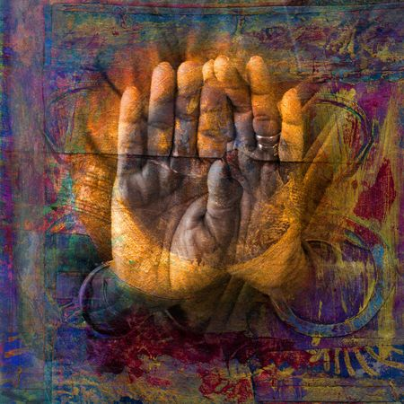 spirit healer: Gilded hands in open palm mudra. Photo based illustration.