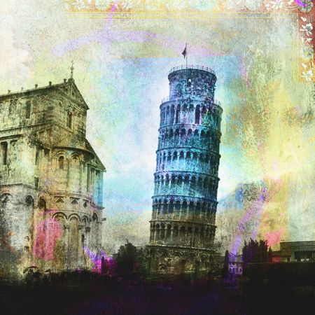 pisa: De scheve toren van Pisa. Foto gebaseerd illustratie.