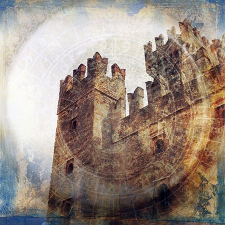 Midieval fortress. Photo based illustration.           Foto de archivo