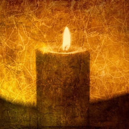 vigil: Textural image of a candle. Photo based illustration.