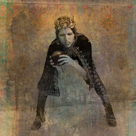 17th: The Queen bent and holding the symbolic sphere of her realm. Photo based illustration.  Stock Photo