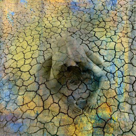 spiritual meditation creation: Female figure being in cracked earth. Photo based illustration. Stock Photo