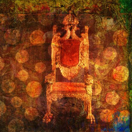 Empty throne with pattern of dots. Photo based illustration.  Banque d'images